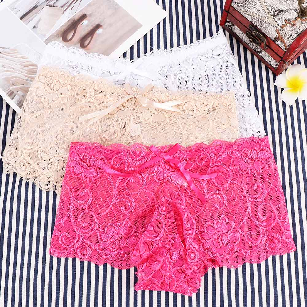 1Pc Women Sexy See-through Jacquard Lace Trunk Briefs Lingerie Underwear Panties Boxers Summer Style Comfort Ladies Panties