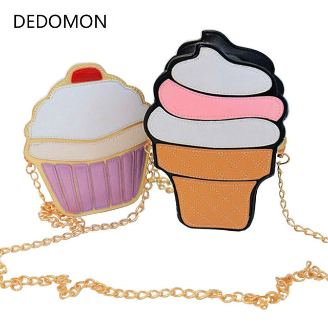 New Cute Cartoon Women Ice Cream Cupcake Mini Bags PU Leather Small Chain Clutch Crossbody Girl Shoulder Messenger Evening Bag