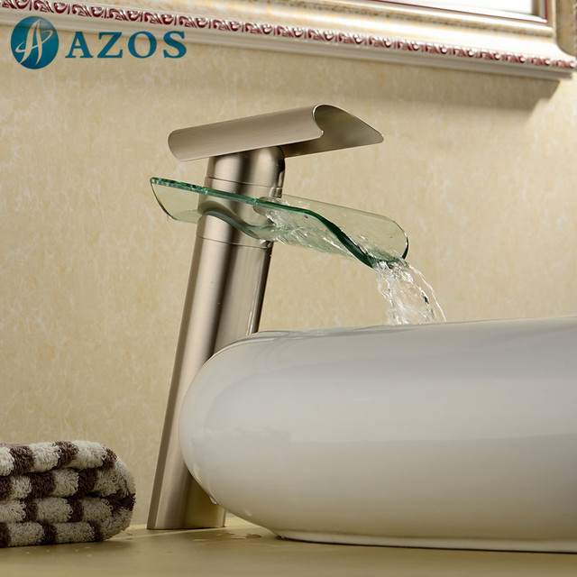 Bathroom Sink Taps Nickel Brush Waterfall Spout Deck Mounted Single Handle Hot Cold Water Toilet Furnitures MPPB030S