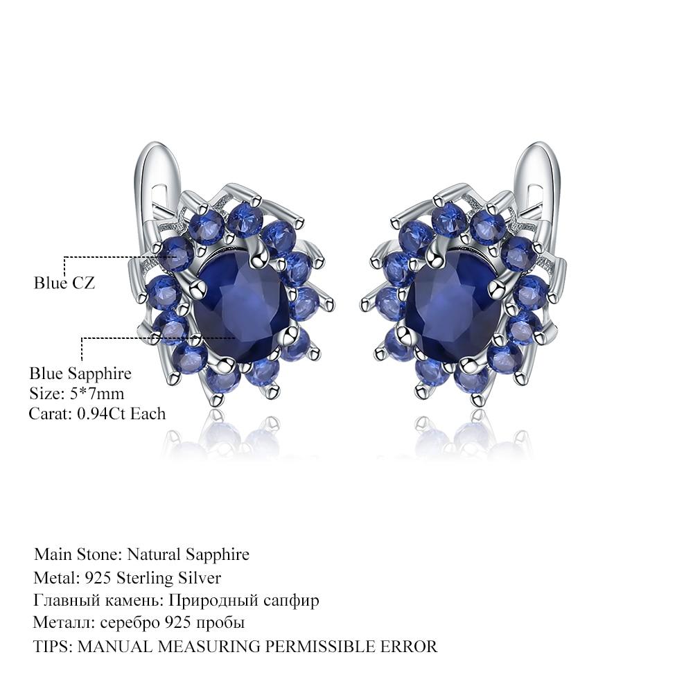 Silver Blue Sapphire Earrings Natural Blue Sapphire Drop Earrings 5 Ct Blue Sapphire 925 Sterling Silver Blue Sapphire Earrings