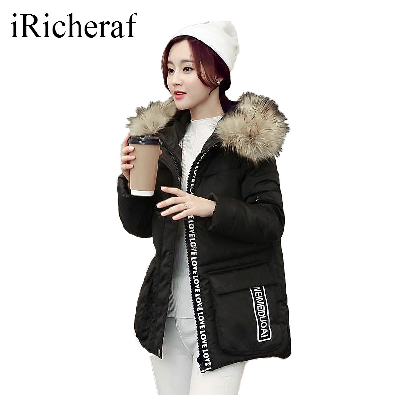 Women Thick Parkas Plus Size Fur Hooded Collar Letter Printed Cotton padded Loose Wineter Jacket Korean