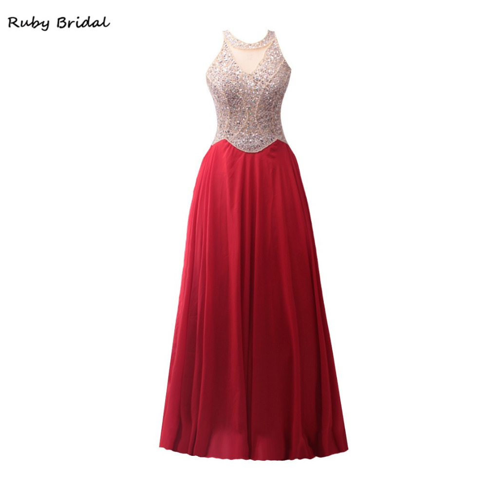 Ruby Bridal 2017 Luxury Red Chiffon Beaded A line Evening Dresses Charming Vestido De Festa Long