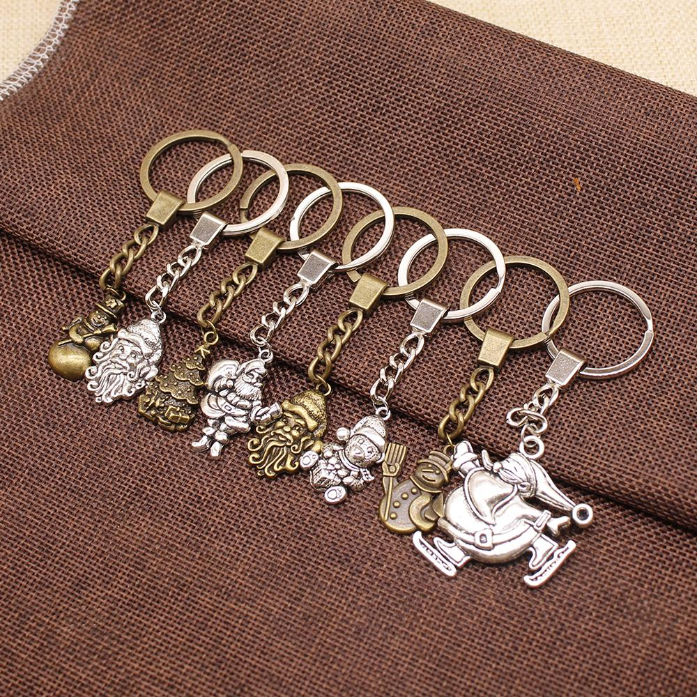 WYSIWYG Santa Claus Christmas Gifts Key Chain For Diy Handmade Jersey Man Snowman