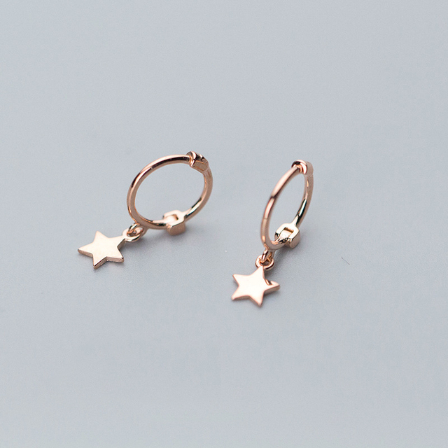 Polish Star Hanging 925 Sterling Silver Rose Gold Color Stud Earrings For Women