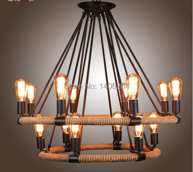 RH LOFT Edison Vintage Style Double-deck 16 Light Wrought Iron Woven Hemp Rope Chandelier For Cafe Bar Store Coffee Shop Decor vintage edison metal chandelier hanging light black silver gold finish ceiling lamp for cafe bar hall coffee shop club store