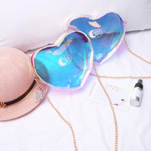 2017 fashion laser messenger bag women pink blue candy color handbags love heart shape bags for teenage girls