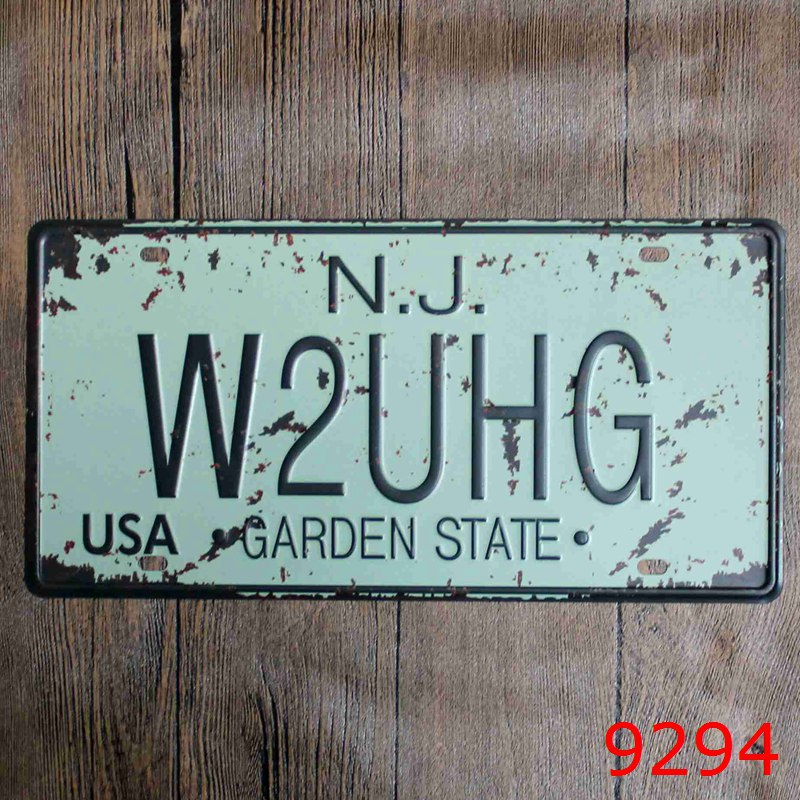 Direct selling LOSICOE Vintage license plate W2HG Wall art craft metal painting vintage Iron for bar home decor 15X30 CM