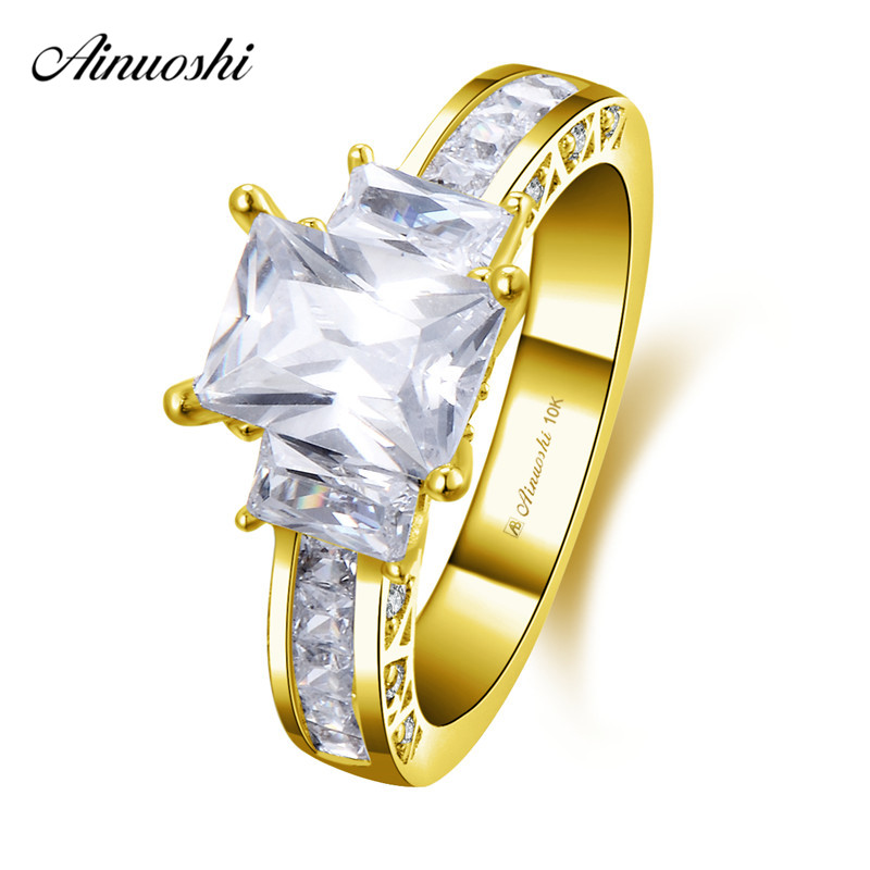 AINUOSHI 10k Solid Yellow Gold Rectangle Ring 1ct Emerald Cut SONA Diamond Engagement Jewelry 3 Stones Luxurious Bridal BandsAINUOSHI 10k Solid Yellow Gold Rectangle Ring 1ct Emerald Cut SONA Diamond Engagement Jewelry 3 Stones Luxurious Bridal Bands