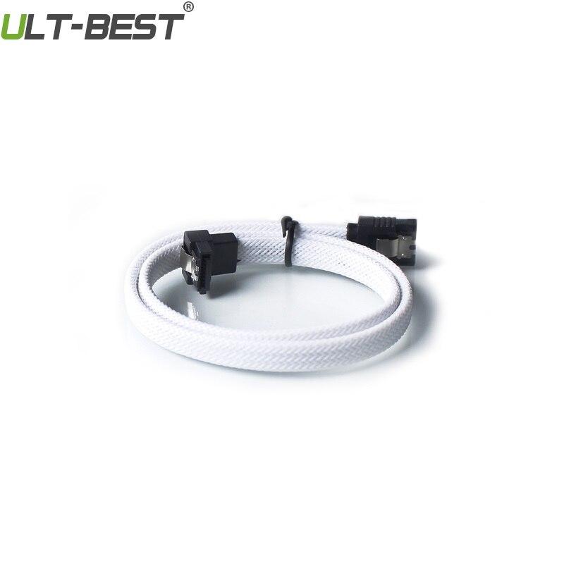 Ult-best 20 pièces SATA 3.0 III SATA3 7pin câble de données 6 Gb/s câbles à Angle droit HDD cordon de disque dur avec manchon en Nylon vert - 2