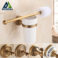 Antique Brass Artistic Bathroom Toilet Brush Holder Brush Bracket Wall Mount Ceramic Cup