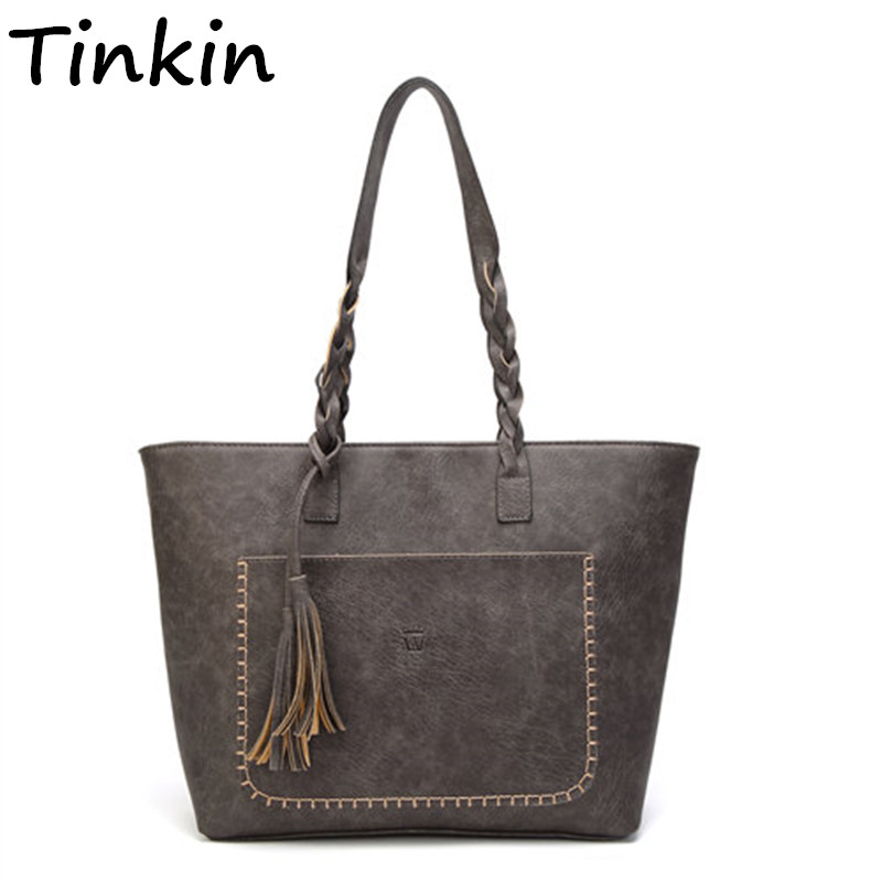 Tinkin Vintage PU Quaste Frauen Schulter Tasche Weibliche Retro Täglichen Kausalen Totes Dame Elegante Einkaufs Handtasche