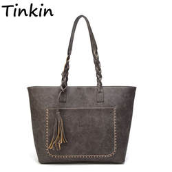 Tinkin Винтаж PU кисточкой для женщин Сумка Женская Ретро ежедневно повседневные сумки леди элегантная хозяйственная