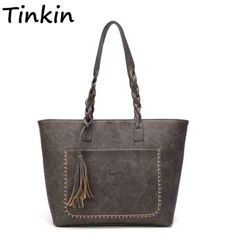 Tinkin Vintage PU borla mujeres bolsa de hombro Retro diario Causal Totes señora elegante bolso de compras