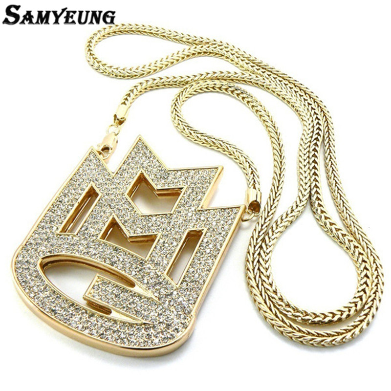 European Style Bling Bling Hip Hop Jewelry Gold Necklace for Male Colar de Ouro Masculino Colar Hiphop Rapper Chain Necklaces