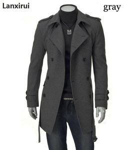 Image 3 - Frete rápido novos jaquetas masculinas duplo pelotão fivela casaco longo com cinto duplo breasted trench coat dropshipping