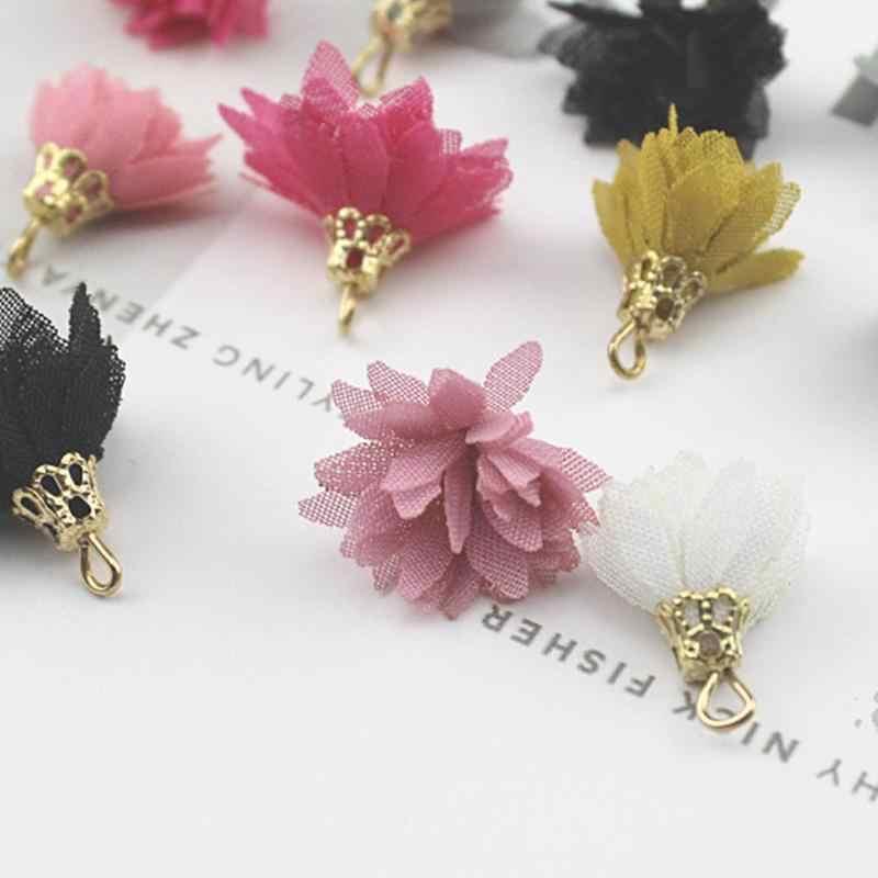 10 stks/pak Kleurrijke Chiffon Kwastje Bloemen Schoen Accessoires Vrouwen Charmes Schoen Decoratie Hangende voor Hoge Hakken Laarzen Willekeurige