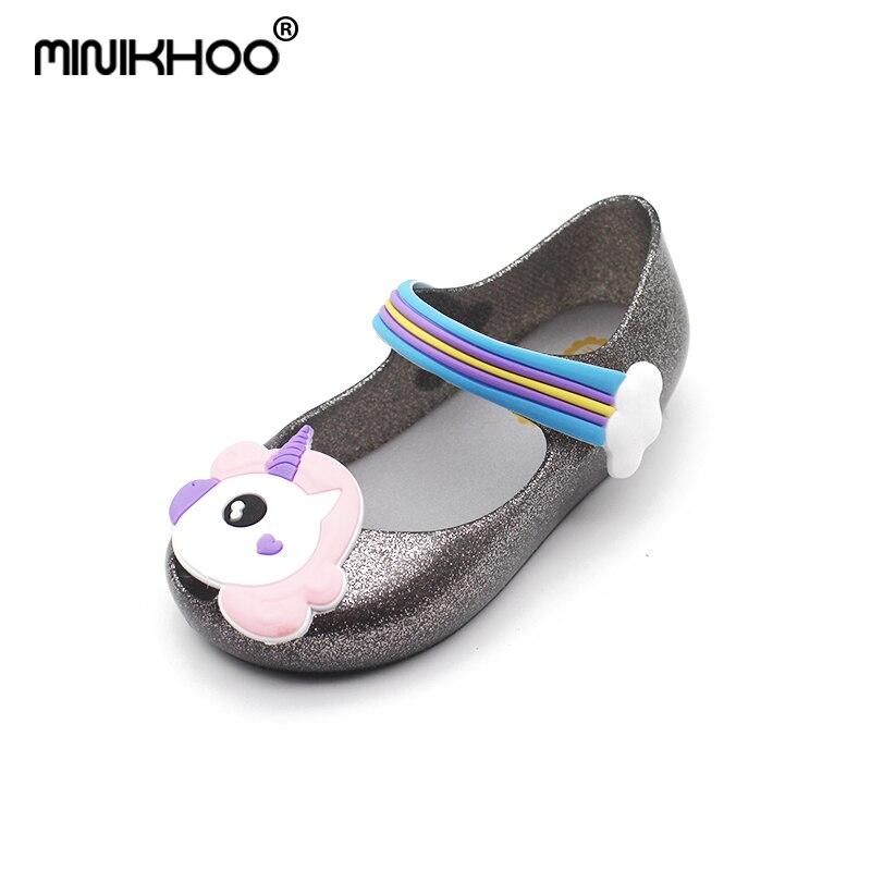 Mini Melissa 3 Color Unicorn Jelly Sandals 2018 Melissa Brazil Girls Beach Shoes Melissa Toddler Sandals Non-slip 15-18cm