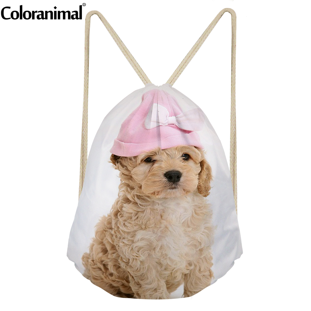 Coloranimal  Women&Wen Daily Drawstring Yorkshire Terrier Poodle Bags 3D Animal Print Teenager Girl Shopping Backpack Sack Bags