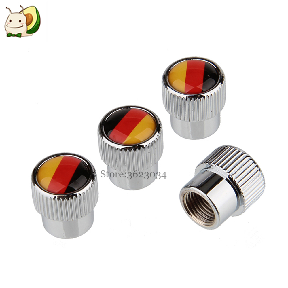 Tire Valves Caps Stem Cover German Flag Logo for Volkswagen Golf Fiat Punto Tipo 500X Jeep Renegade Car Styling