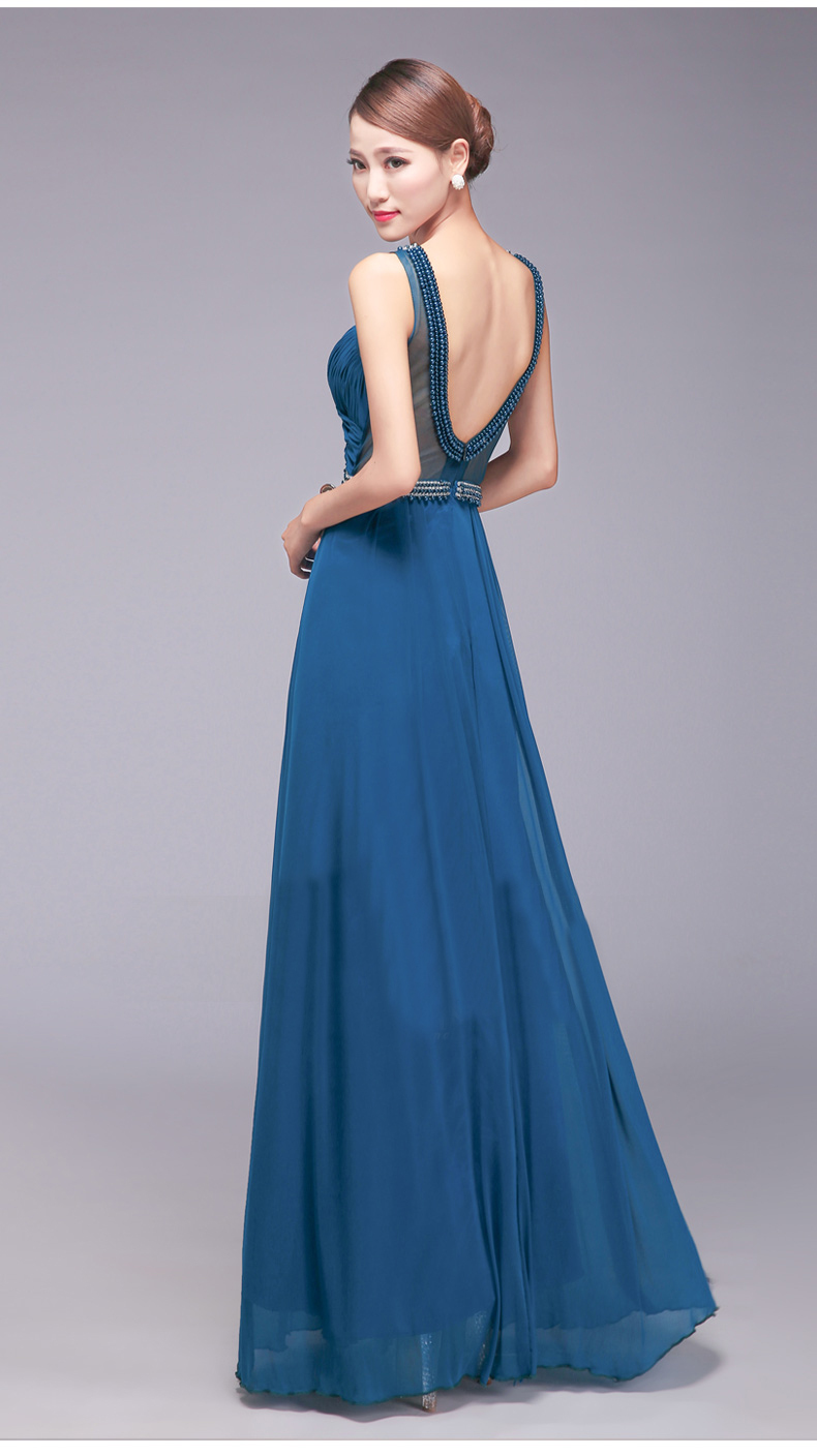 2015 new fashion real sample o neck straight royal blue for Long straight wedding dresses