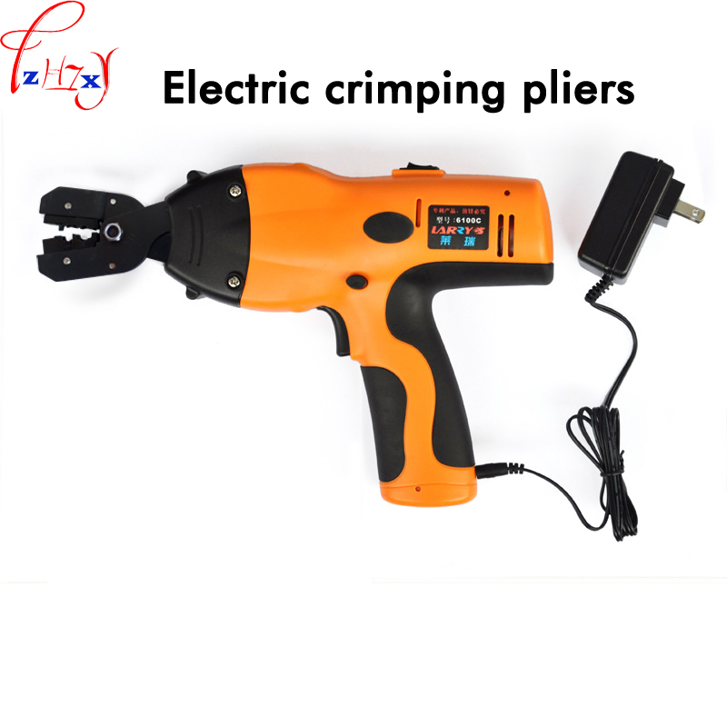 New Hand-held electric pressure tongs 6100C insulated cold pressure OT bare terminal wire pliers replaceable head 7.2V 1PC
