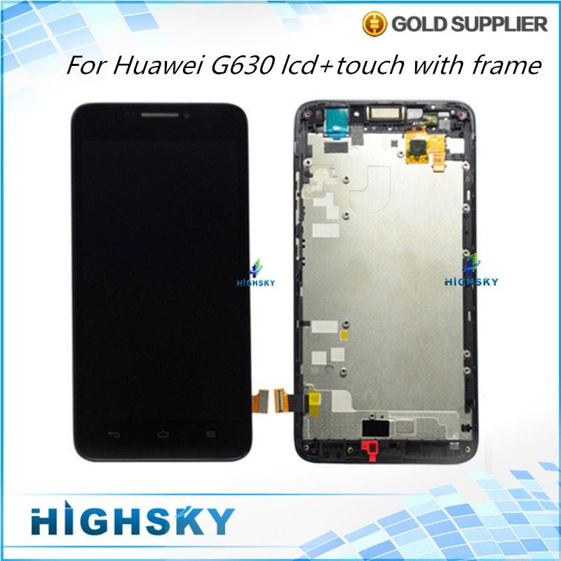 10 Pieces Free DHL EMS Tested Black White Display For Huawei Ascend G630 LCD Screen With Touch Digitizer Frame 5 inch Complete