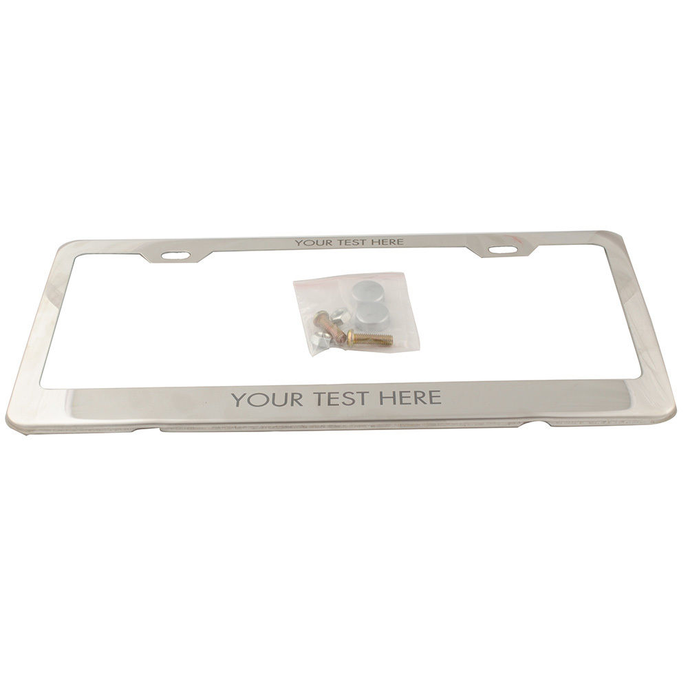 Hot Sale Personalized Engraved License Plate Tag Frame Text Custom Silver Stainless Steel Plate Frame Holder