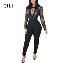QILI Sexy See Through Lace Patchwork Jumpsuits Long Sleeve Zipper Black Jumpsuit Elegant Fashion One Piece For Women