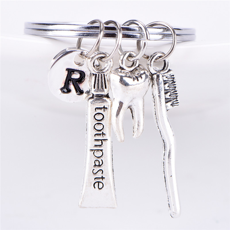 1pc Creative Key Chain Ring Dental Hygienist Keychain Tooth /R /toothbrush /toothpaste Charm For Car Bag Key Handbag Keychain image