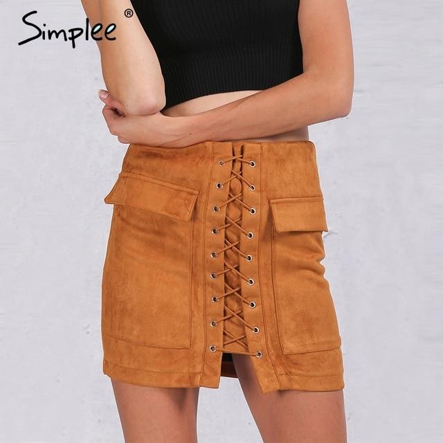 Simplee Apparel Осень зашнуровать замши женщин юбка 90-х Vintage карманные опрятный короткая юбка Зима высокой талией вскользь юбки