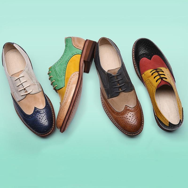 Yinzo sapatos femininos oxford sapatos de couro perfurado flat oxfords senhoras brogues vintage casual oxford sapatos para calçados femininos