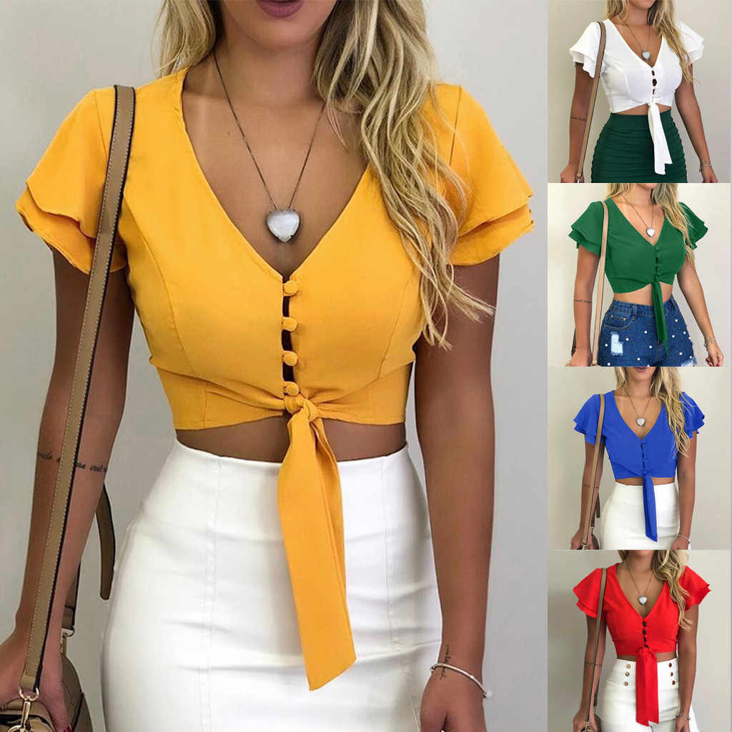 Summer Ladies  trumpet sleeves T-shirt tops women casual sexy solid color chiffon V-neck button shirt 2019 new camiseta mujer