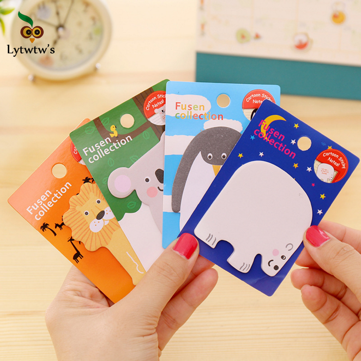 1 Piece Lytwtw's New Cute Kawaii Animal Sticky Notes Creative Post it Notepad Filofax Memo Pad Office Supplies School Stationery rainbow northern europe memo pad paper sticky notes notepad post it stationery papeleria school supplies material escolar