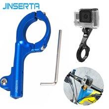 JINSERTA CNC Aluminum Bicycle Holder Bike Handlebar Clamp Clip Mount Adapter for xioami yi 4K YI2 for Gopro Hero 4 3 3+2 SJCAM