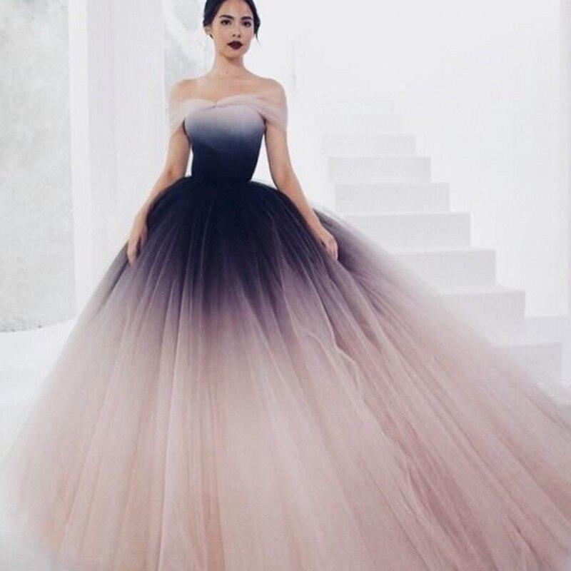 b317a42371a269 Rose Mode Chic Luxuriante L'épaule Robes Soirée Couleur Robe De Mix ...