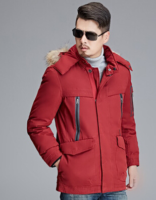 Men s Clothing Winter Casual Solid Color Detachable Hooded Long Down Jackets and Coats Warm Duck