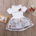 Baby Girls Clothes 2016 New Arrival Baby Girls Dress Summer Short Sleeve T-Shirt Top Hole Floral Skirt 2PCS Outfit Child Dress