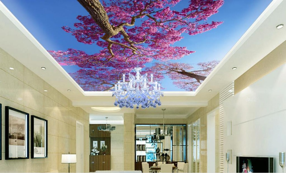 Customize 3d ceiling murals blue sky tree flowers sky for 3d ceiling paper