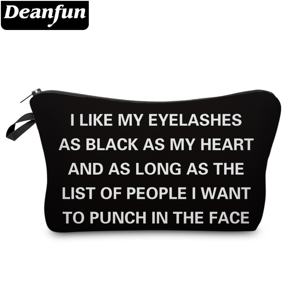 Deanfun Black Cosmetic Bags 3D Printed Letter Necessaries For Women Travel Makeup Storage 51298