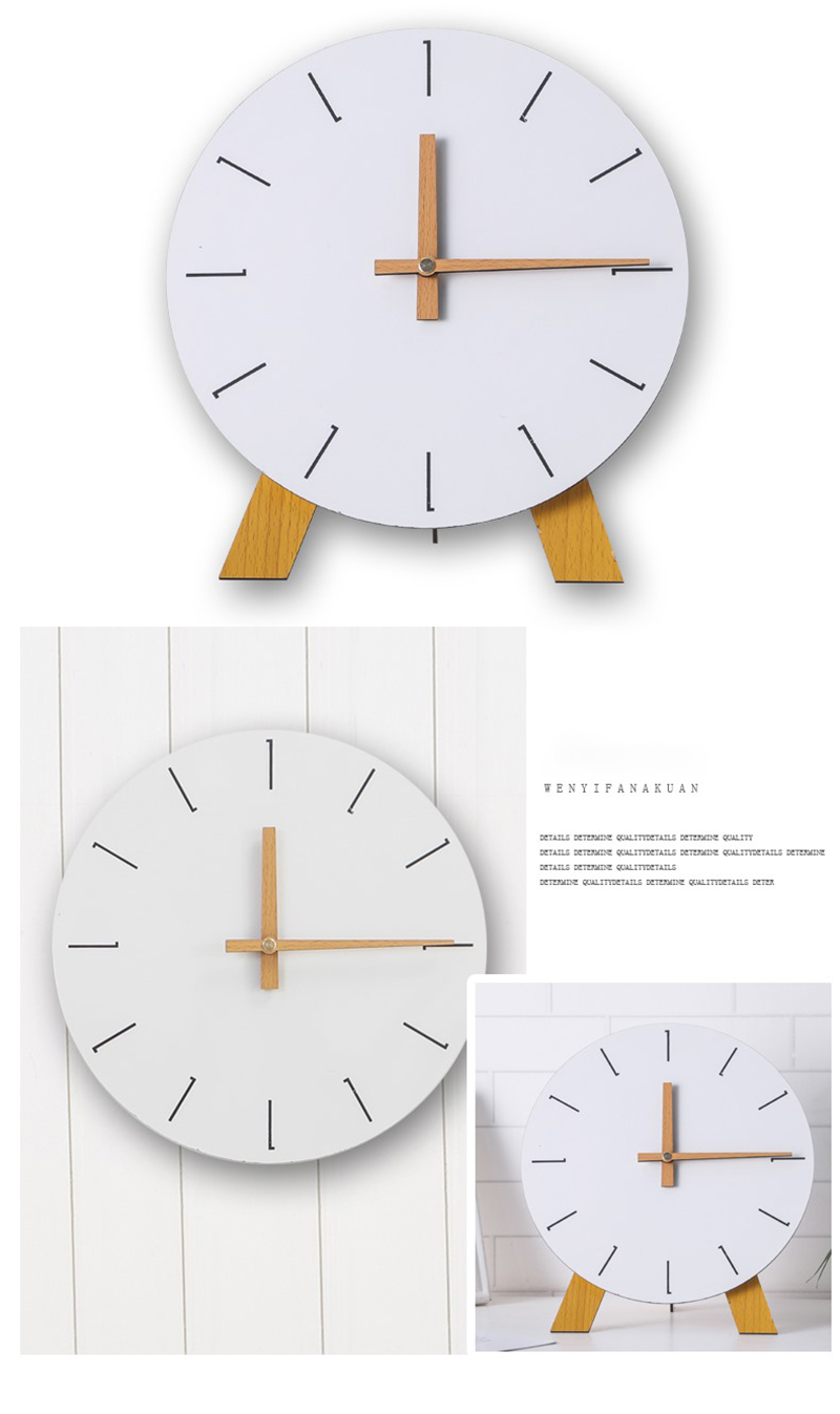 study clock watch office office table decoration flip calendar bamboo clock desk clock circular electronic desktop clock dementia clock (7)