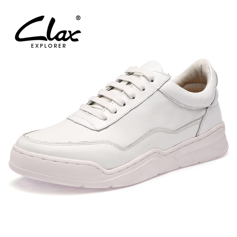 CLAX Men Casual Leather Shoes Genuine Leather 2017 Autumn Shoe White Shoe Male Walking Footwear Leisure Shoe Luxury Brand clax men loafers shoes slip on 2017 summer autumn leather shoe for male casual footwear flat moccasin boat shoe breathable