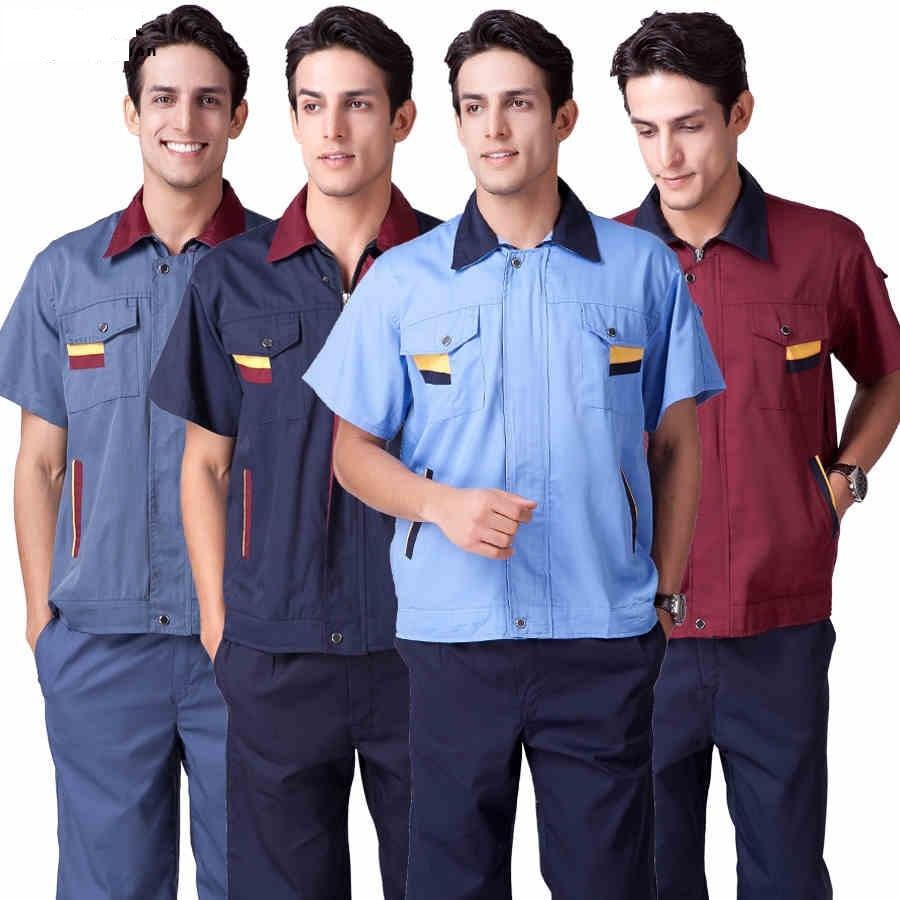 1 Set Shirtpantthree Color Short Sleeved Worker Clothes Suit Male Kemeja Pria Shirt Sy860 Baju Celana 4xl Populer Nyaman Abu Pakaian
