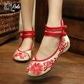 Китайский нежный подсолнухи вышивка квартиры шосе женщины моды холст дамы случайные оксфорд обувь женщины zapatillas тренеров