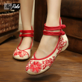 Chinese delicate sunflowers embroidery flats shose women fashion canvas ladies casual oxford shoes women zapatillas plimsolls