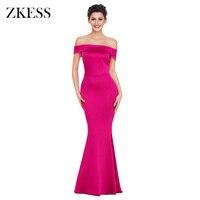 ZKESS Women Foldover Off Shoulder Long Party Dress Elegant Club Formal Slit Back Slinky Stretchy Bodycon
