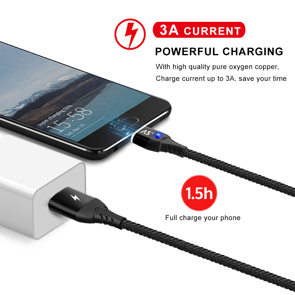 A.S Magnetic Cable Micro USB Type C Super Fast Charging Phone Microusb Type-C Magnet Charger usb c For iphone huawei xiaomi Data 3