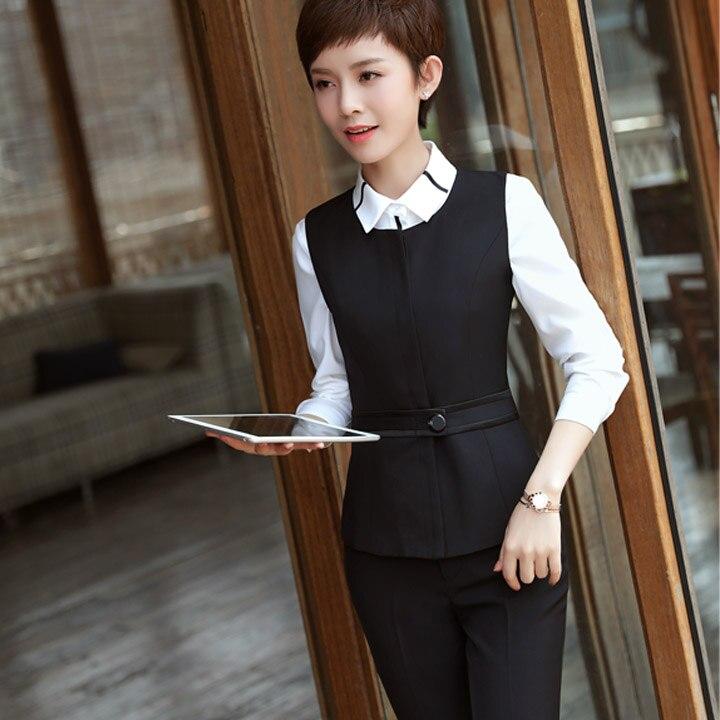 2020 осень и зима профессиональный женский костюм с длинным рукавом тонкий маленький интервью отель рабочая одежда три костюма - 3