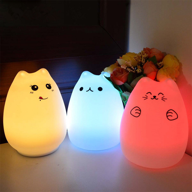 USB Rechargeable LED 7 Colorful Night Light Animal Cat stype Silicone Soft Breathing Cartoon Baby Nursery Lamp for Children Gift