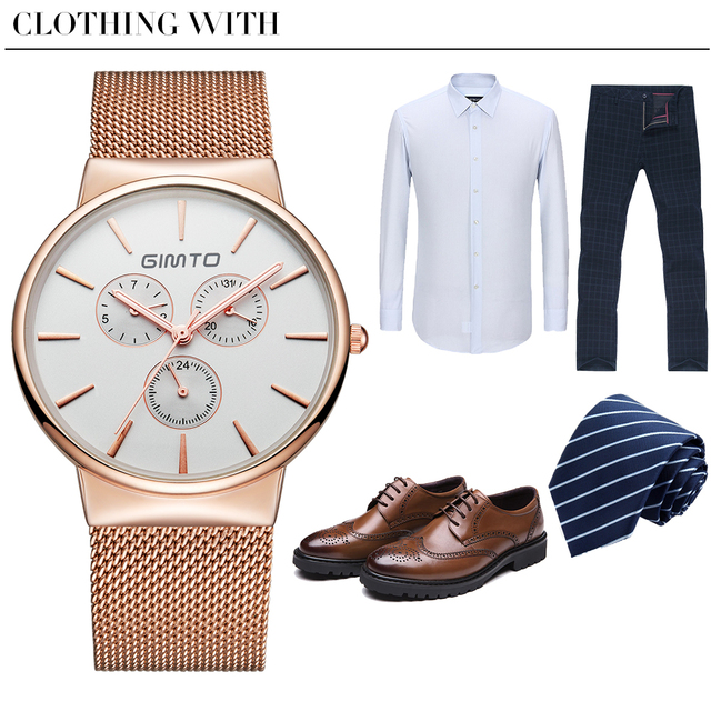 GIMTO Luxury Brand Watch Men Steel Rose Gold Quartz Watch Lover Dress Casual Wristwatches Male Clock Reloj Hombre Relogio Montre