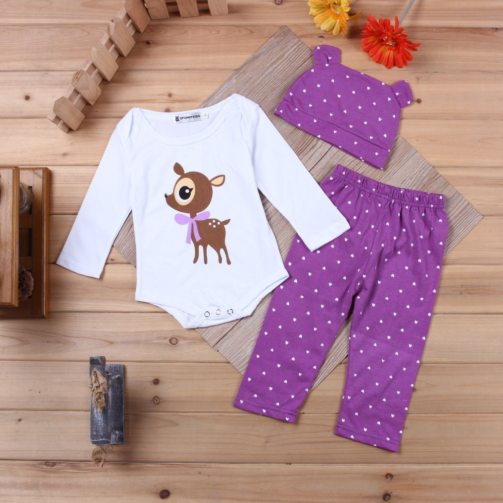 Thumbaby 3 Pcs Newborn Baby Girl font b Boy b font Clothes Cartoon Babi Crawler Climbing